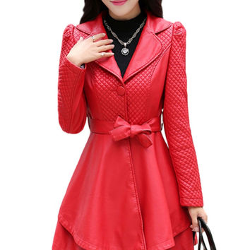Leather Jacket Special Offer Sashes 2017 New Autumn And Winter Jacket Women Pu Leather Coat Female Plus Size Ms. Slim Collar