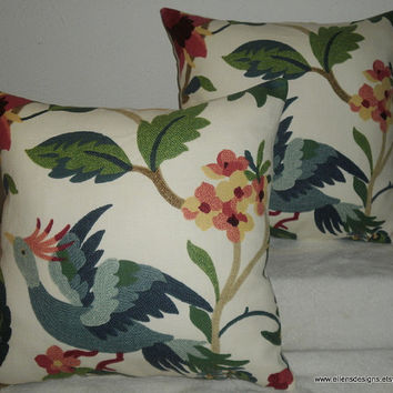 Decorative-Accent-Throw  Set of Two Pillow Covers 18 inch Big Blue Bird on Floral Foliage-Free Domestic Shipping