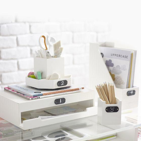 Wooden desk accessories from pbteen organization station - Desk organizers and accessories ...