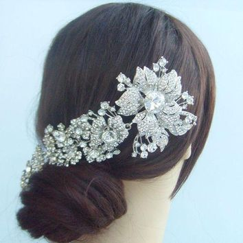 Bridal Hair Accessories Wedding Hair Comb 7.28 Inch Silver Tone Rhinestone Crystal Flower Hair Comb Wedding Headpiece Fse04704c1