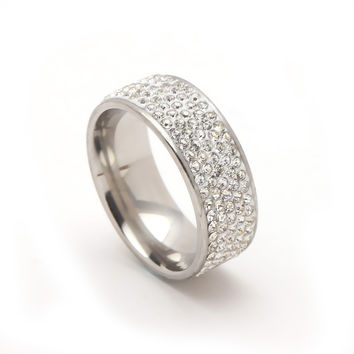 Crystal Stainless Steel Ring for Her - Available in Various Colors