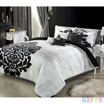 12pc Lakhani White/Black Luxury Bedding Set