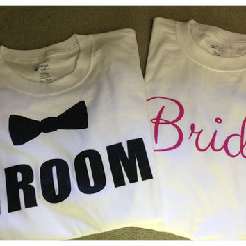 Groom T Shirt with bow tie and  Bride T Shirt - set of 2 T-shirts, 1 Bride & 1 Groom