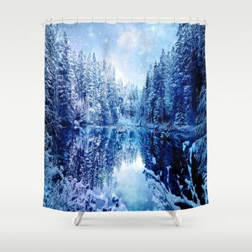 Blue Winter Wonderland : Forest Mirror Lake Shower Curtain by 2sweet4words Designs