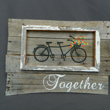 Bright Hand painted Daisies in basket antique tandem bike, Wedding, Anniversary Reclaimed Wood Pallet Art, Rustic Shabby Chic Summer porch
