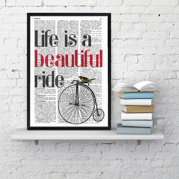 Quote print life is a beautiful ride GIRL BEDROOM Art, Sister BIRTHDAY Gift Her, Bedroom Decor Wall Quote , Girl Quote Poster print Artwork