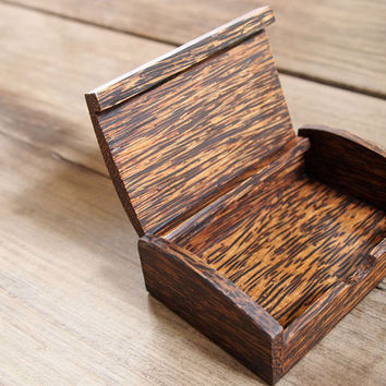 Business card multipurpose holder palm wood box
