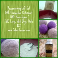 Housewarming Gift Set with wool dryer balls, dishwasher detergent