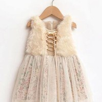 Girls Floral Fur Party Dress