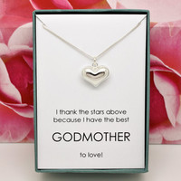 Gift for Godmother baptism or christening gift from godchild 925 Sterling silver heart in a box