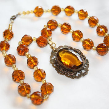 Art Deco Amber Crystal Necklace Pendant 1930s  Vintage Boho Jewelry