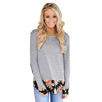 Dark Floral Patchwork Gray Long Sleeve Shirt