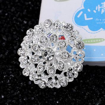 WEIMANJINGDIAN Silver Color Plated Clear Crystal Rhinestones Flower Brooch Pins for Wedding Bouquets