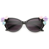 Lovely Women's Ceramic Flower Adorned Cat Eye Sunglasses 9808