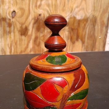 Decorative Wooden Candy Dish with Lid
