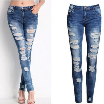 All-match Fashion Casual Irregular Worn Ripped Jeans Trousers Small Foot Pants