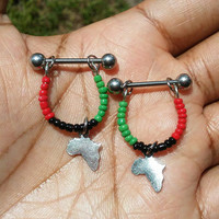 Africa Map Nipple or cartilage barbell piercings 14 gauge stainless steel.......light weight