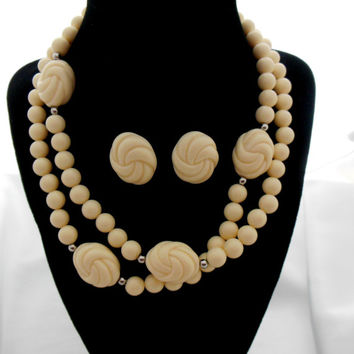 "AVON Necklace Earring Set ""Carved Accent"" Faux Ivory Look"
