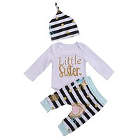 Baby Girls Family Matching Clothes 2017 Hot Sales Big Sister Skirt+T-shirt Little Sister Polka Dot Bodysuit Pants Hat Outfit Set