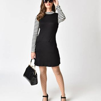 Retro Style Black With Striped Sleeves Shift Dress