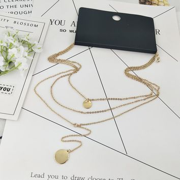 Special offer new trend multi-layer clavicle chain fashion wild gold metal round net red necklace trade jewelry 03