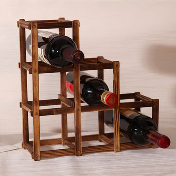 Foldable Carbonized 6 Grid Wood Wine Holder Fashion Charming Wine Rack Bar/Home/Restaurant Decor Free Shipping ASLT