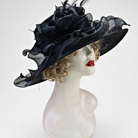 Kentucky Derby Church Wedding Tea Party Black Wide Brimmed Layered Ribbon Lace Bow Feather Organza Hat