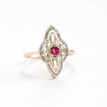 Antique Art Deco 10k Rose, Yellow, & White Gold Ruby Ring - Vintage Filigree Size 5 1/2 Stick Pin Conversion Ring Pink Gem Fine Jewelry