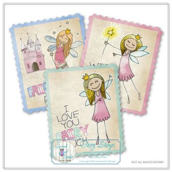 Fairy Stamps, Fairy Clipart, Scrapbook Elements, Card Making, Gift Tags, Paper Craft Supplies, Printable Images, Instant Download