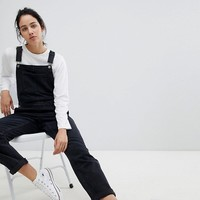 ASOS DESIGN denim overall in washed black at asos.com