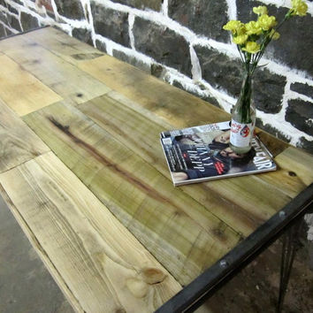 Reclaimed wood and recycled steel tables by RecycledBrooklyn