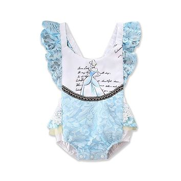 Sky Blue Lace Infant Baby Girls Sleeveless Ruffles Beauty Romper Lace Jumpsuit Outfts Sunsuit Clothes Baby Clothing