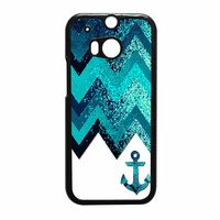 Chevron Navy Anchor Sparkly HTC One M8 Case
