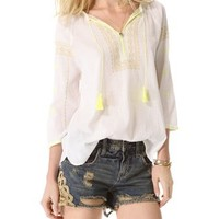 Maison Scotch Bohemian Top with Fluorescent Embroidery | SHOPBOP