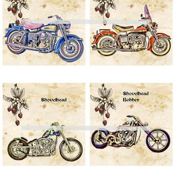 Harley Shovelhead Motorcycles Altered Art - Coasters Artwork, 4.0 inch Squares, Arts and Craft Projects