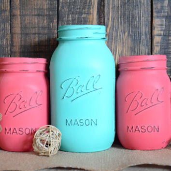Shabby Chic Painted Mason Jars - Set of 3 - Quart and Pint Size - Turquoise - Melon - Centerpiece - Vase