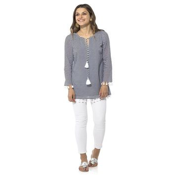 Crinkle Cotton Long Sleeve Tunic Top by Sail to Sable