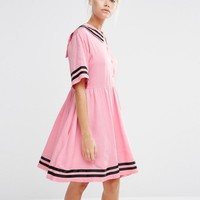 Lazy Oaf Sailor Dress With Introvert Embroidery at asos.com