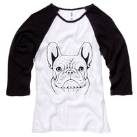 French Bulldog Sketch Womens Baseball Shirt - White Body-Black Sleeves