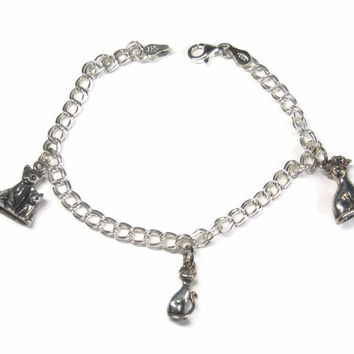Vintage Italian Sterling Cat Kitten Charm Bracelet 7.25 Inches