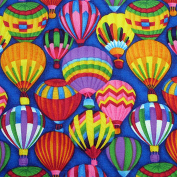Up up and Away Hot Air Balloon Cotton Fabric - 1/2 yard - Quilting - Sewing - Crafts - Purple Blue Green Red Yellow Pink Destash