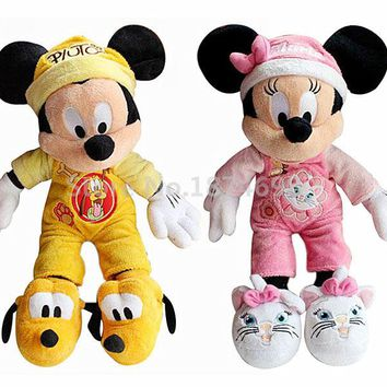 New Goodnight Mickey In Pluto Minnie In Marie Pajamas Outfit Plush Toys 40cm Cute Stuffed Kids Dolls Baby Children Gifts