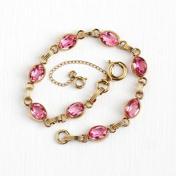 Vintage Pink Bracelet - 12k Yellow Gold Filled Glass Stone Bracelet - 1960s Oval Simulated Pink Sapphire Linked Panel Open Back Jewelry