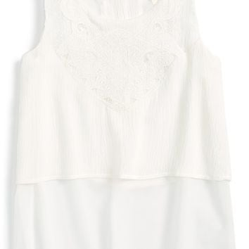 Girl's Kiddo Double Layer Lace Embellished Tank,