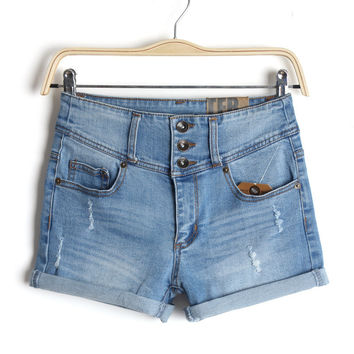 Summer Women's Fashion Plus Size High Rise Denim Shorts [4920269572]