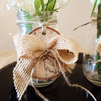 Rustic Wedding Ornament, Rustic Wedding Table Decoration, Burlap Decoration, Barn Wedding