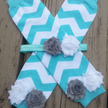 Baby Leg Warmers Set - Blue Chevron- READY TO SHIP - White Gray Flowers - Baby Shower Gift - Toddler Leg Warmers