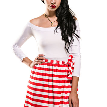Off Shoulder Red Striped Pirate Dress