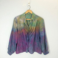 80s Vintage Watercolor Silk Blouse, 1980s Silk Blouse, Tie Dye Silk Top, Silk Shirt, Vintage 80s Clothing