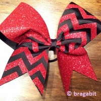 Red glitter and black ribbon chevron cheer bow